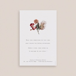Carte de remerciement mariage Bouquet fleurs pourpres, 10 x 15 cm pas cher