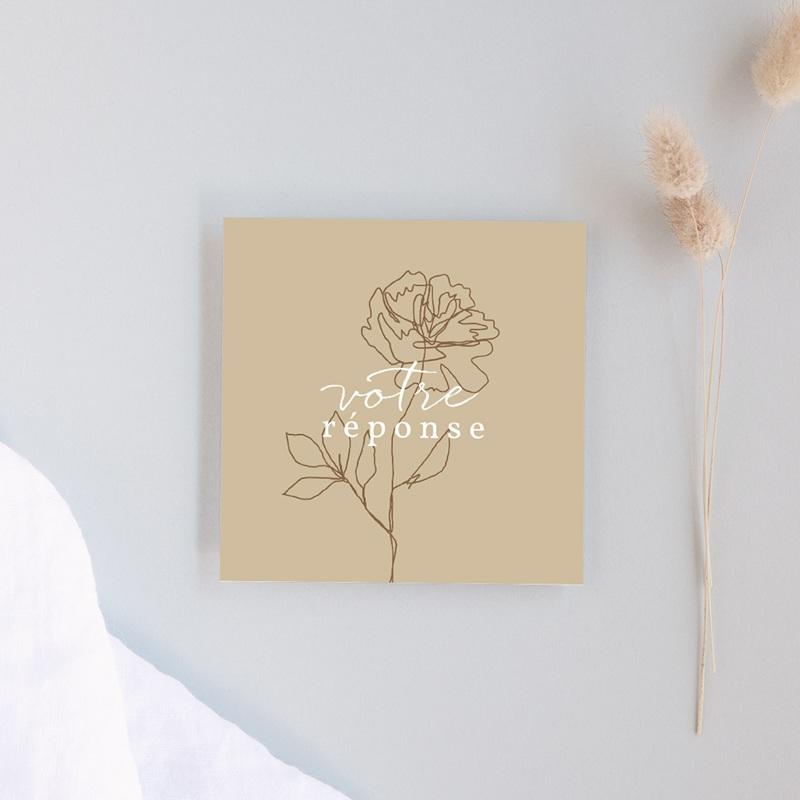 Carton réponse mariage Silhouette de Pivoines, Rsvp