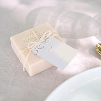 Marque-place mariage Silhouette de Pivoines, 6 x 4 cm, invité