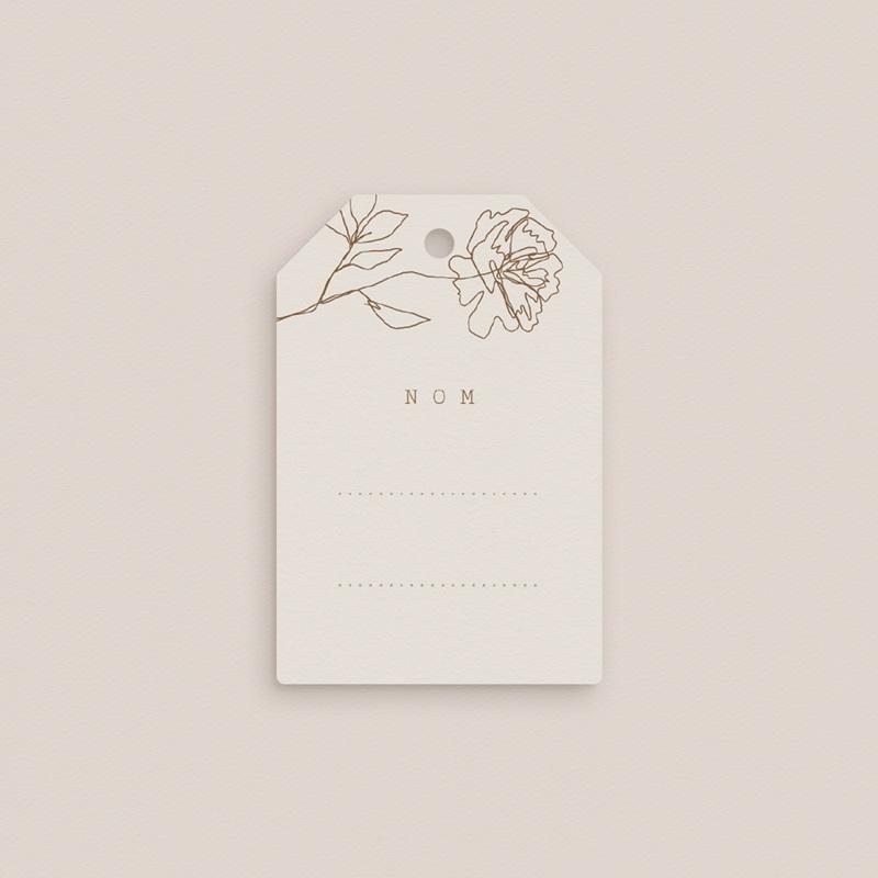 Marque-place mariage Silhouette de Pivoines, 6 x 4 cm, invité gratuit