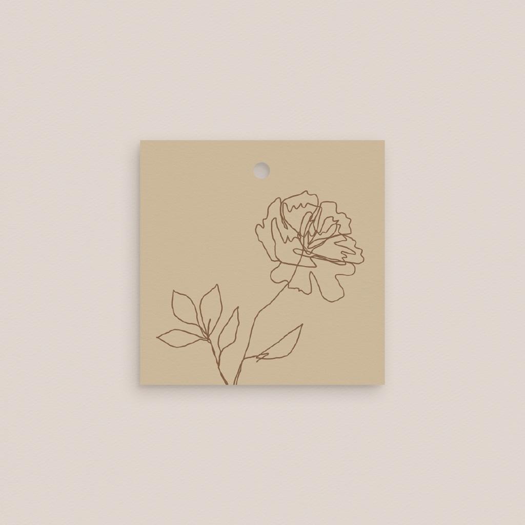 Etiquettes cadeaux mariage Silhouette de Pivoines, Souvenir, 4,5 x 4,5 cm pas cher