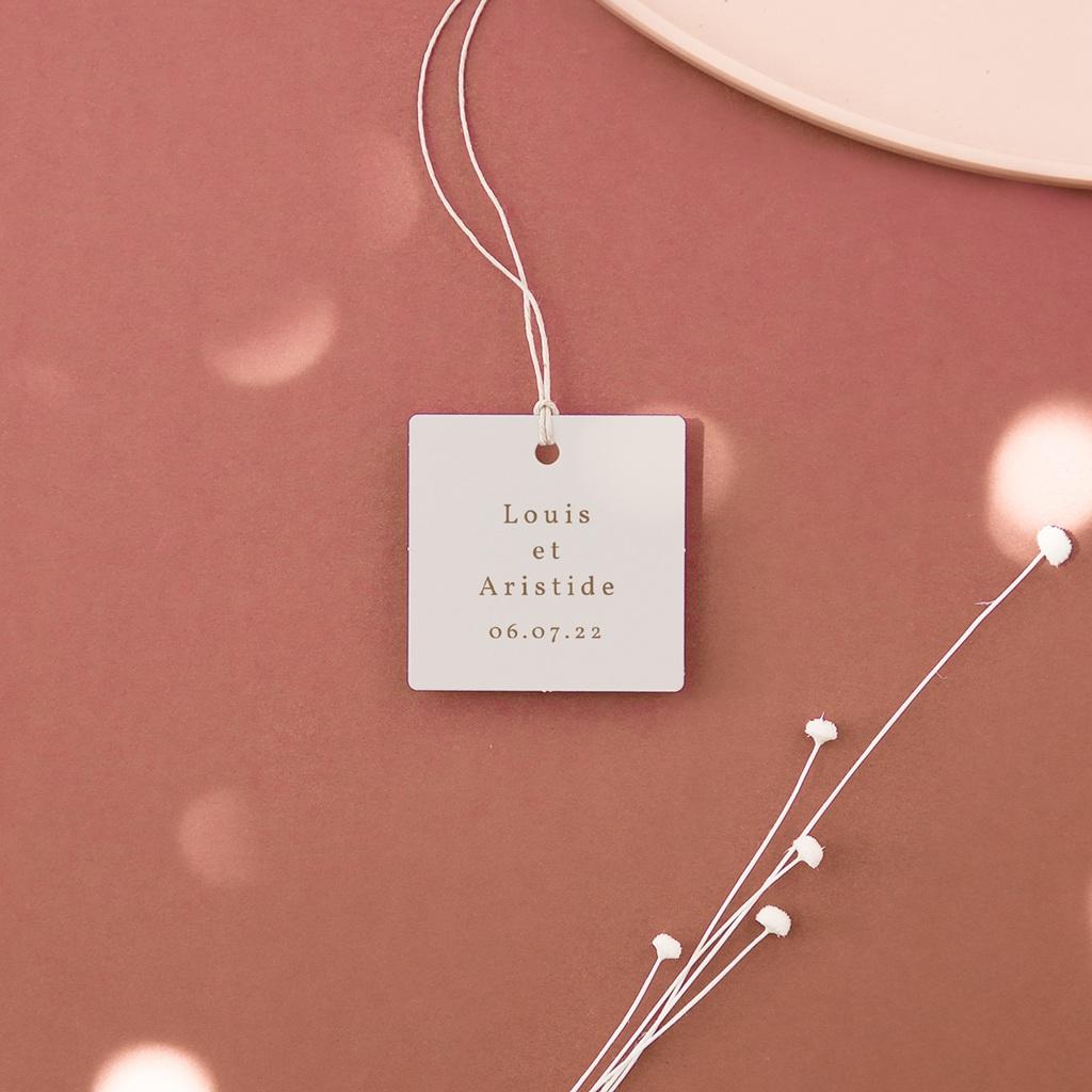 Etiquettes cadeaux mariage Silhouette de Pivoines, Souvenir, 4,5 x 4,5 cm
