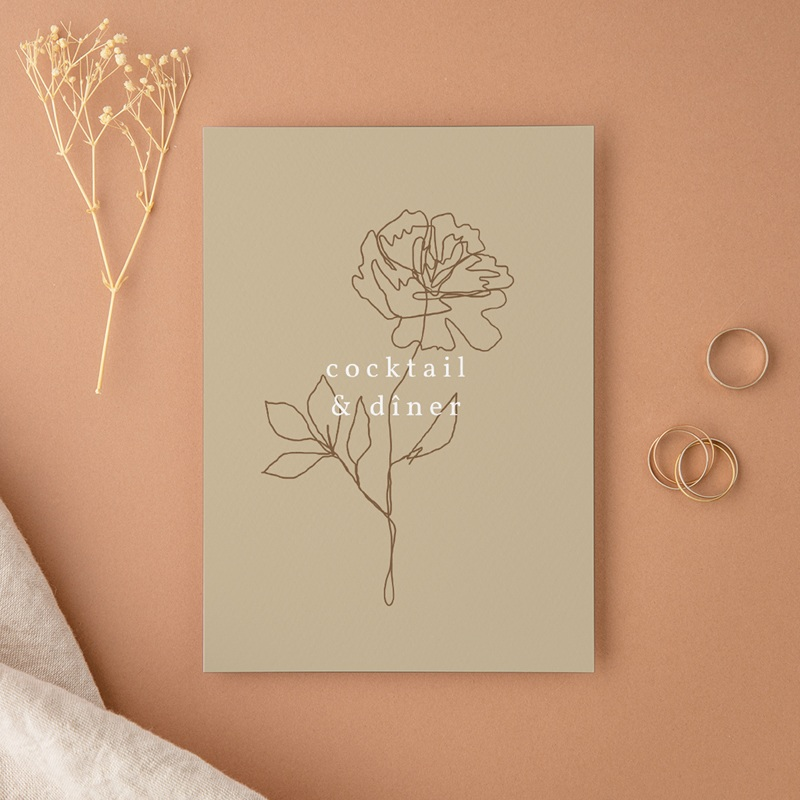 Carte d'invitation mariage Silhouette de Pivoines, Cocktail & Dîner