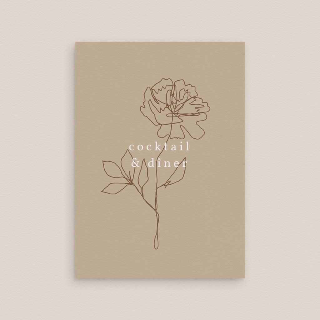 Carte d'invitation mariage Silhouette de Pivoines, Cocktail & Dîner gratuit