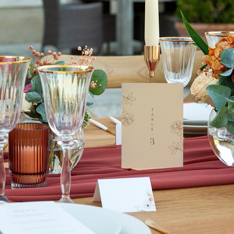 Marque table mariage Silhouette de Pivoines, lot de 3 pas cher