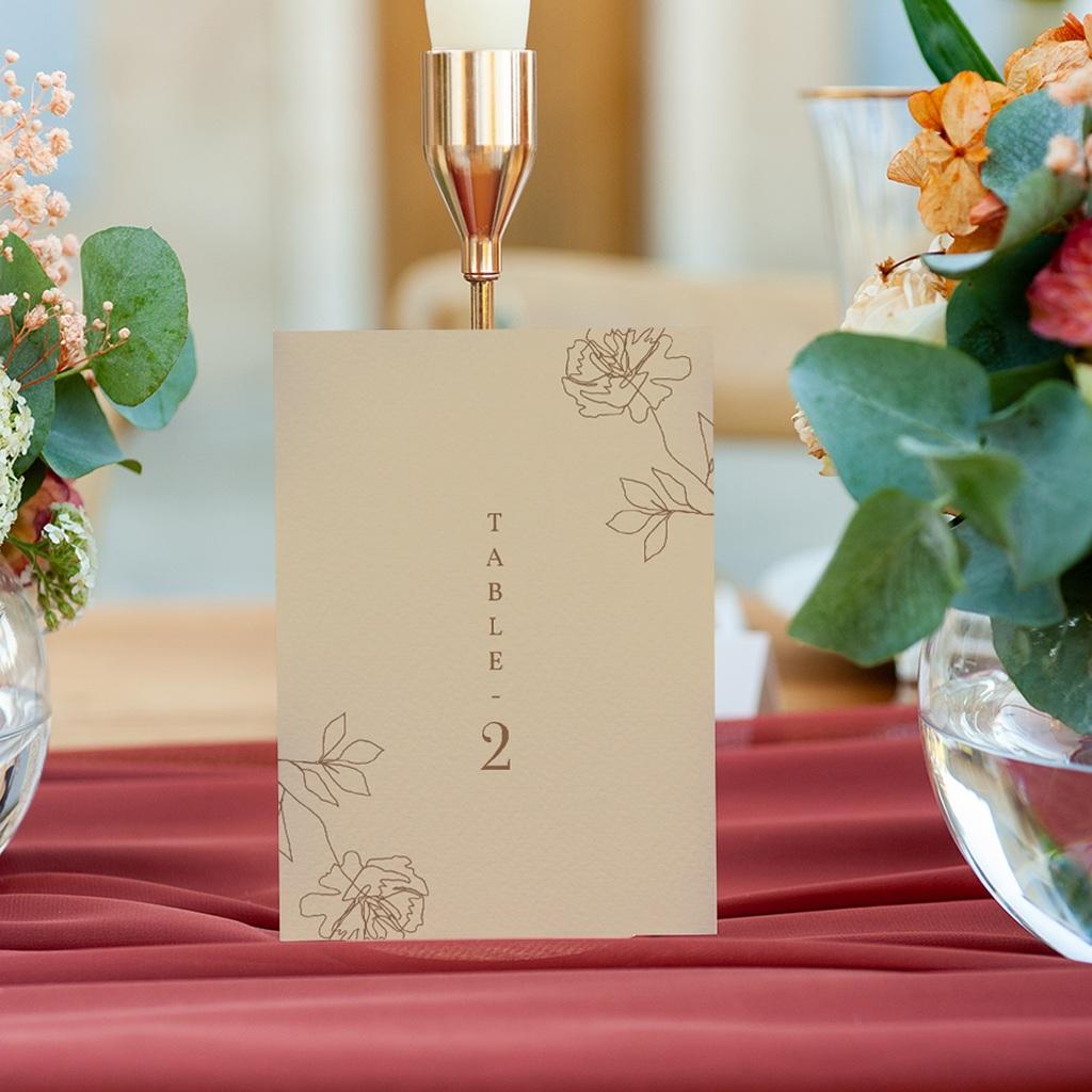 Marque table mariage Silhouette de Pivoines, lot de 3 gratuit