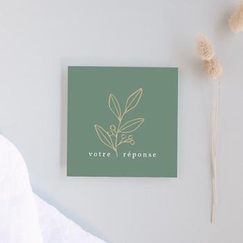 Carton réponse mariage Brin Romantique, vert doré, Rsvp