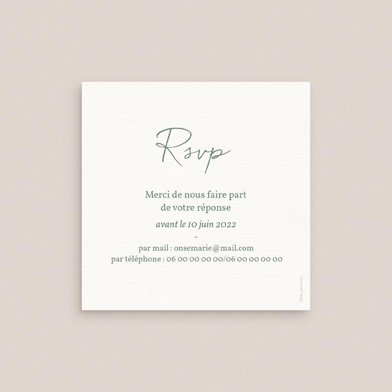 Carton réponse mariage Brin Romantique, vert doré, Rsvp pas cher