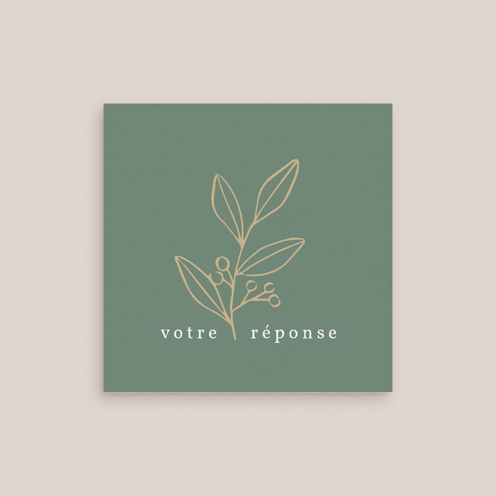 Carton réponse mariage Brin Romantique, vert doré, Rsvp gratuit