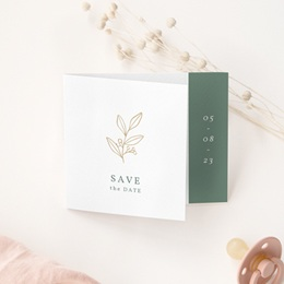 Save-the-date mariage Brin Romantique, doré, pli-décalé