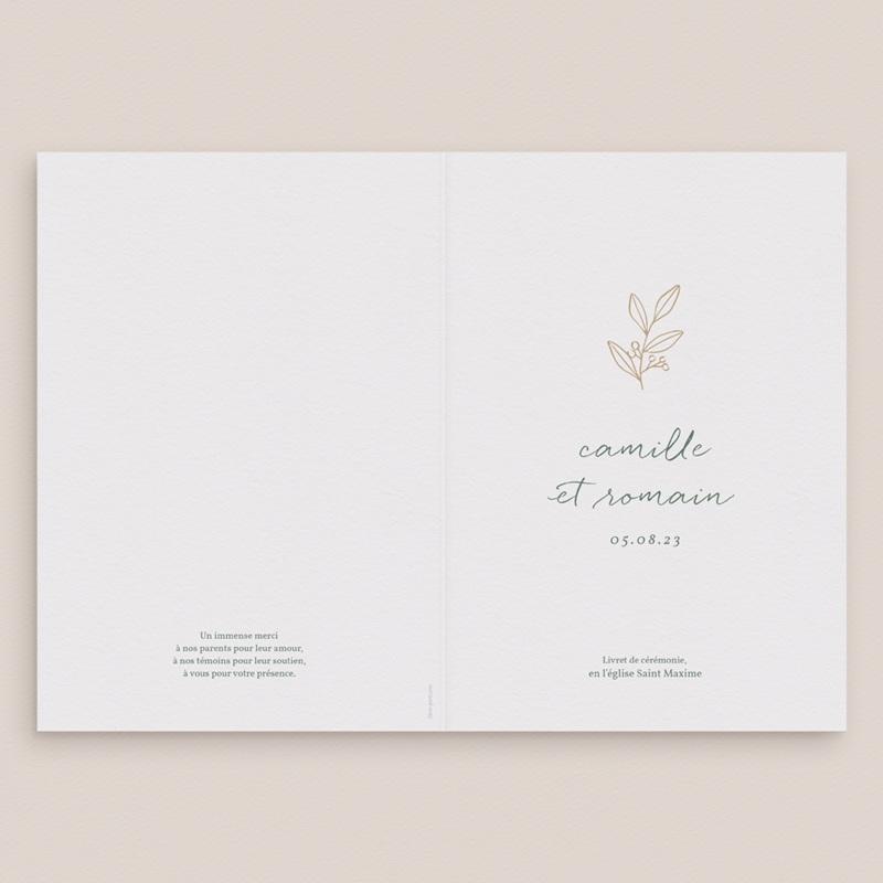Livret de messe mariage Brin Romantique, doré, Couverture gratuit