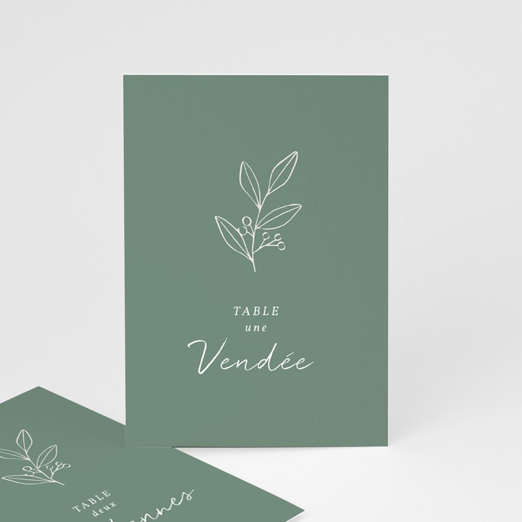 Marque table mariage Brin Romantique, vert doré, lot de 3