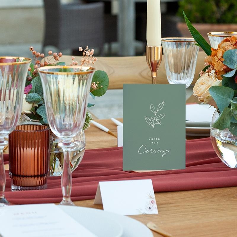 Marque table mariage Brin Romantique, vert doré, lot de 3 pas cher