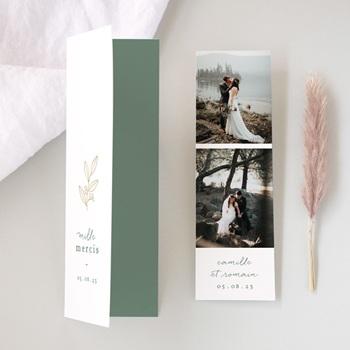 Carte de remerciement mariage Brin Romantique, vert doré, 2 Photos