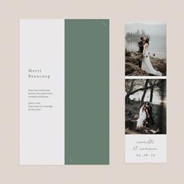 Carte de remerciement mariage Brin Romantique, vert doré, 2 Photos pas cher