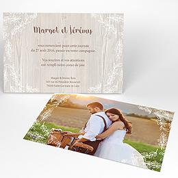 Carte de remerciement mariage Tendance bois
