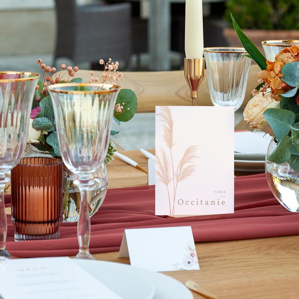 Marque table mariage Fleurs de Pampa, Lot de 3 pas cher