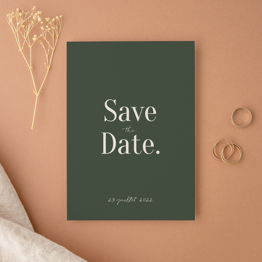 Save-the-date mariage Typographie & Couleur, New date