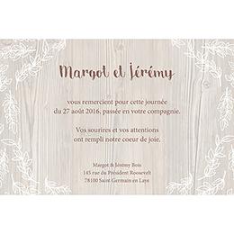 Carte de remerciement mariage Tendance bois pas cher