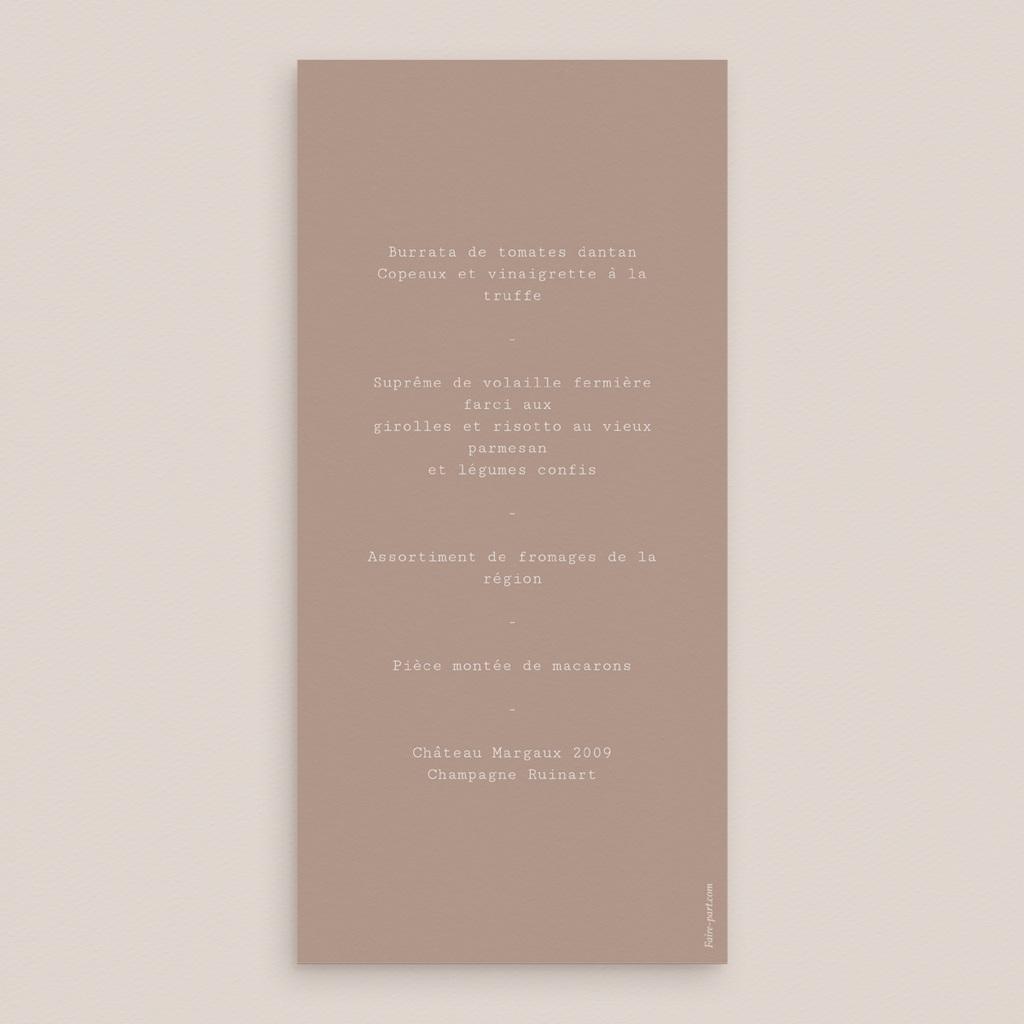 Menu mariage Typographie & Couleur, repas de noces pas cher