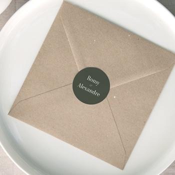 Etiquette enveloppes mariage Typographie & Couleur, 4,5 cm