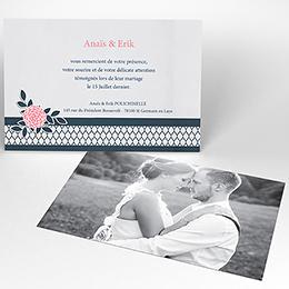 Carte de remerciement mariage Fleuri Chic