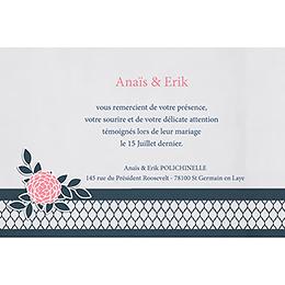 Carte de remerciement mariage Fleuri Chic pas cher