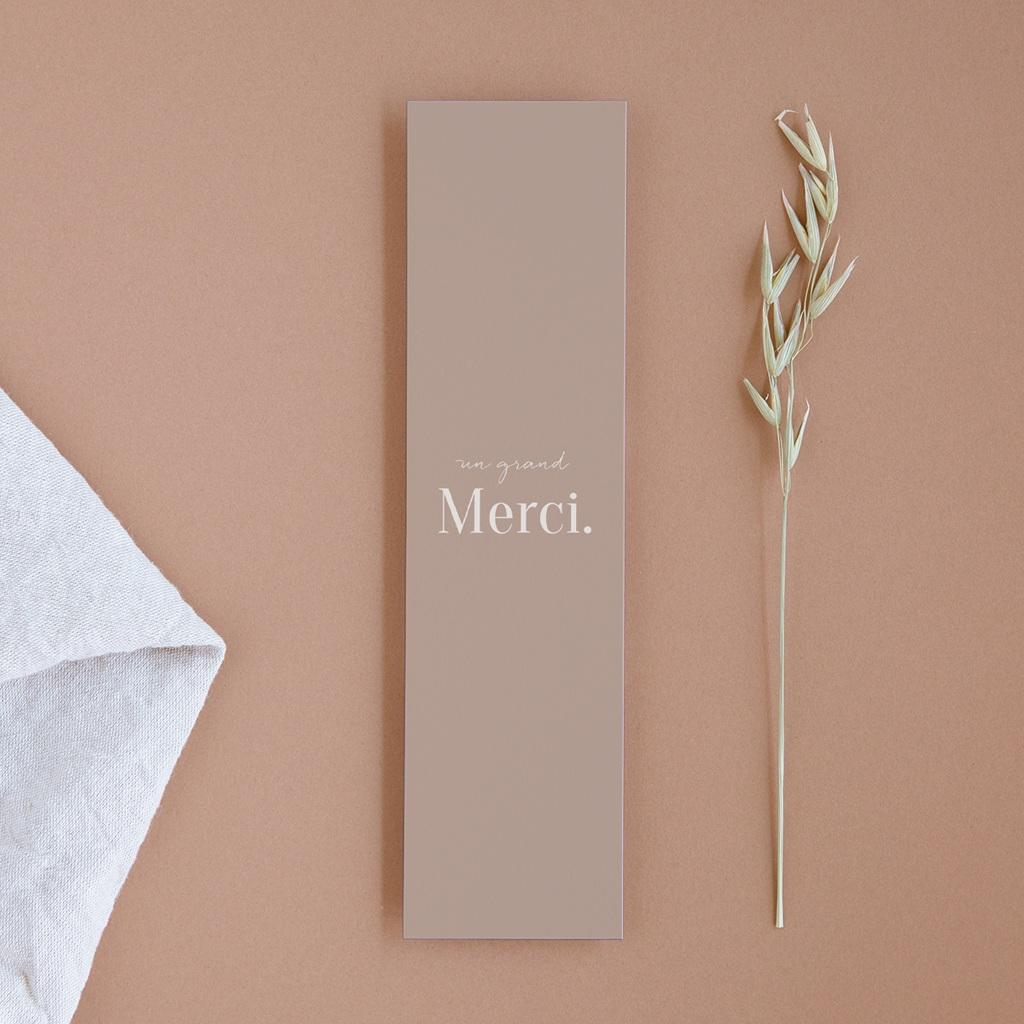 Carte de remerciement mariage Typographie & Couleur, 2 photos