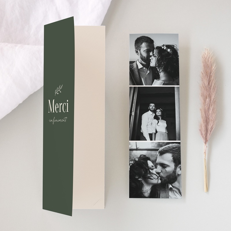 Carte de remerciement mariage Typographie & Couleur, 2 en 1, 3 photos