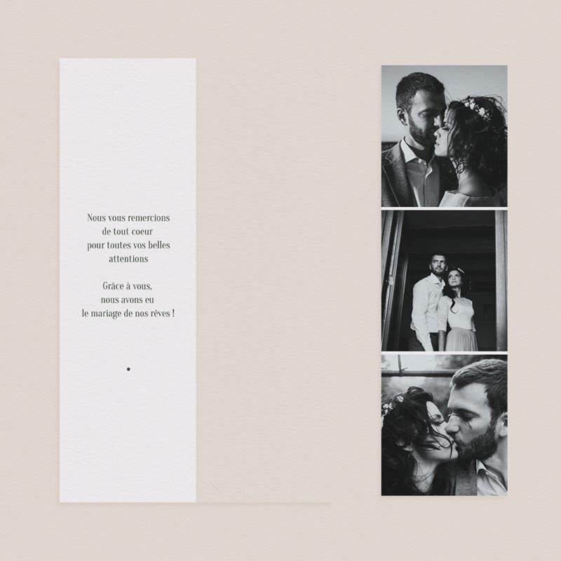 Carte de remerciement mariage Typographie & Couleur, 2 en 1, 3 photos pas cher