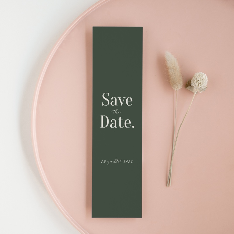 Save-the-date mariage Typographie & couleur, Vert, 5,5 x 21 cm