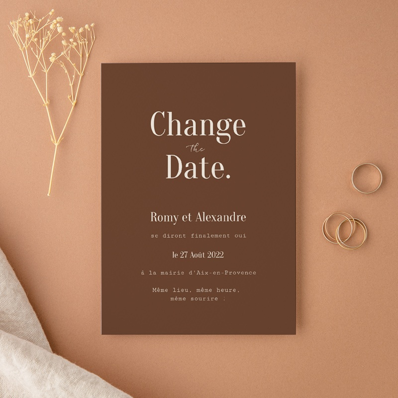 Change the date mariage Typographie & Couleur, New date
