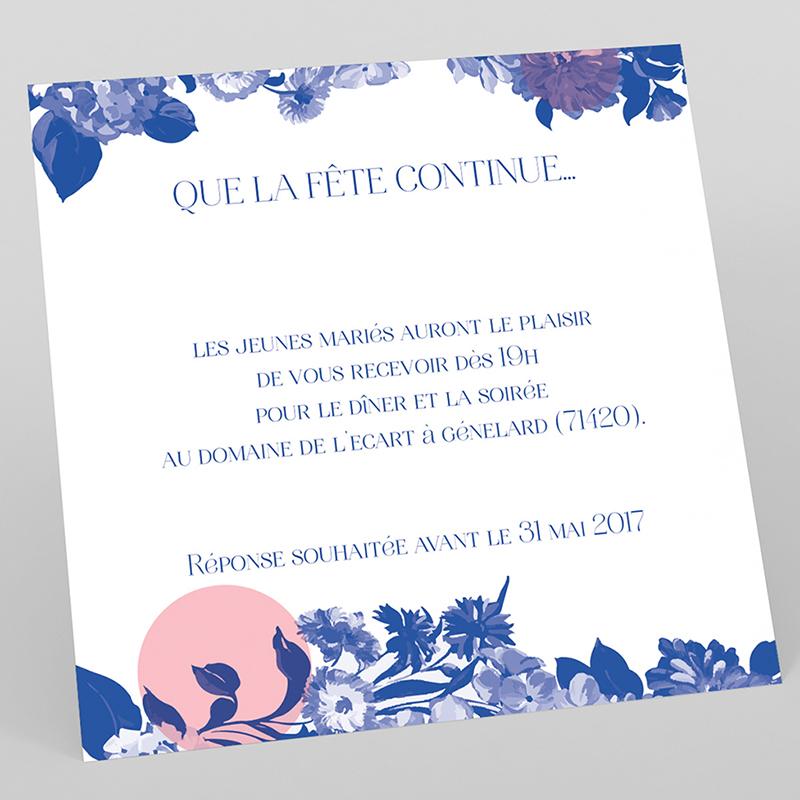 Carte d'invitation mariage Fleur Bleue Elégance