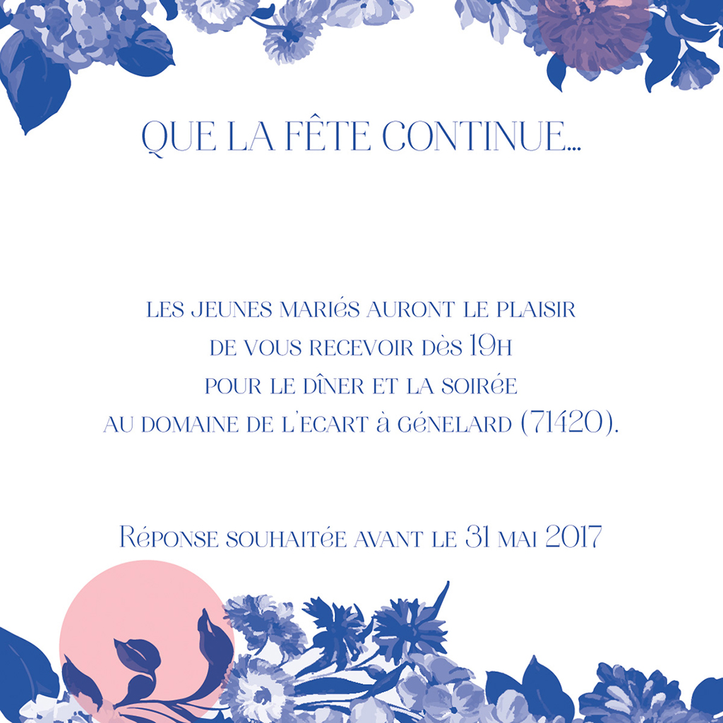 Carte d'invitation mariage Fleur Bleue Elégance pas cher