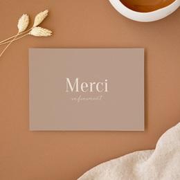 Carte de remerciement mariage Typographie & couleur, Nude, 14 x 10 cm