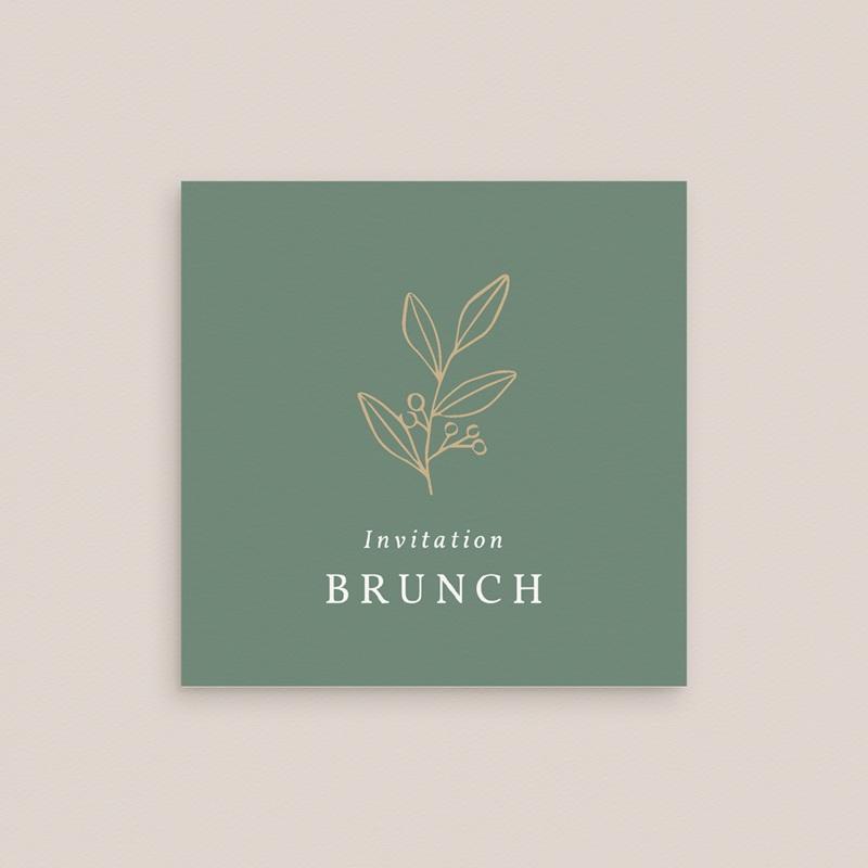 Carte invitation Brunch Brin Romantique, vert doré, Brunch gratuit