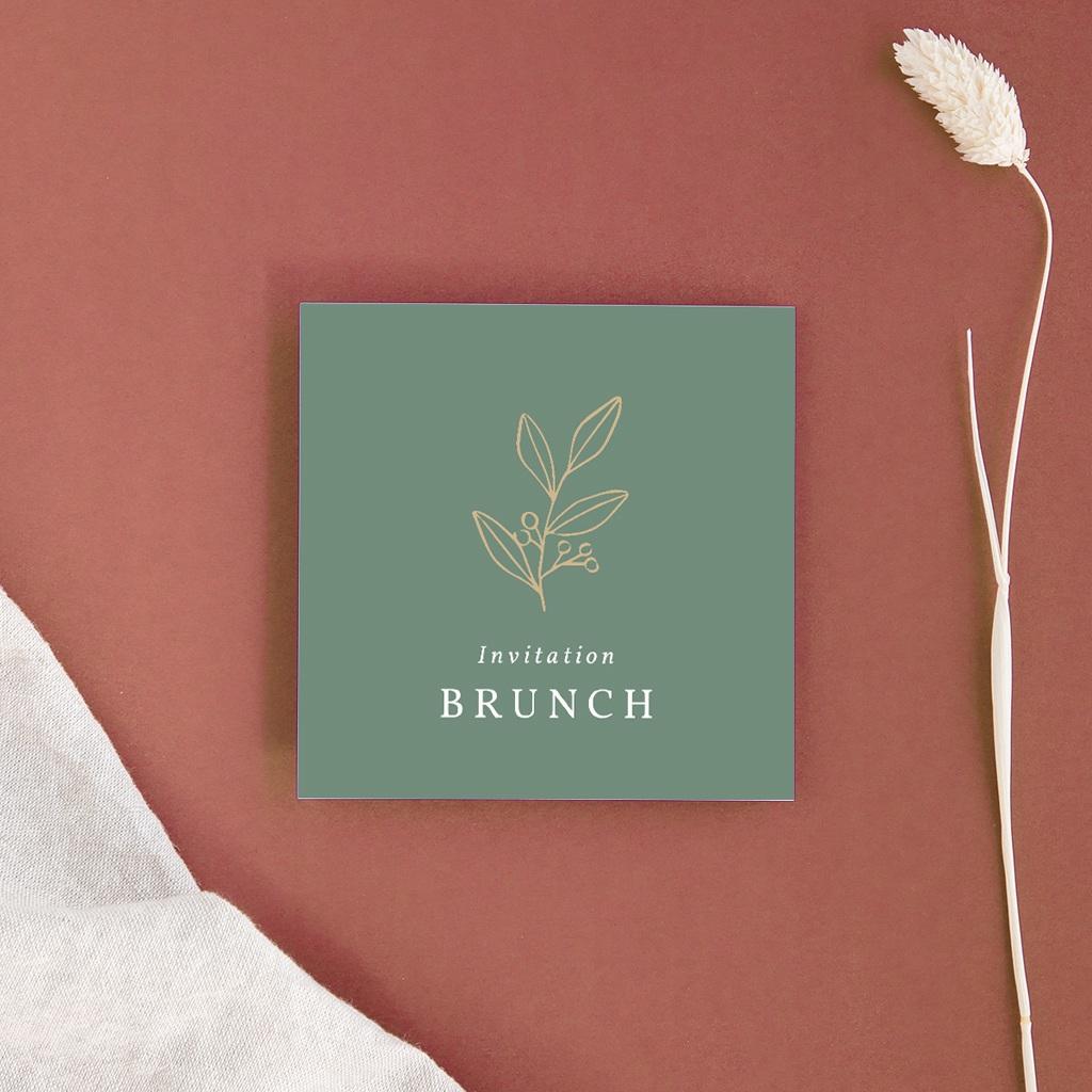 Carte invitation Brunch Brin Romantique, vert doré, Brunch