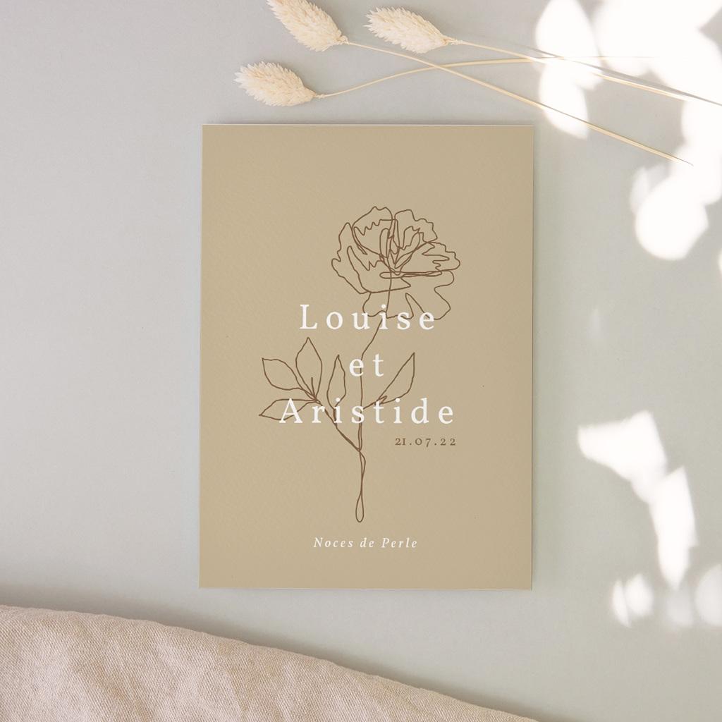 Carte anniversaire de mariage Noces de Bois, de cretonne, de Perle