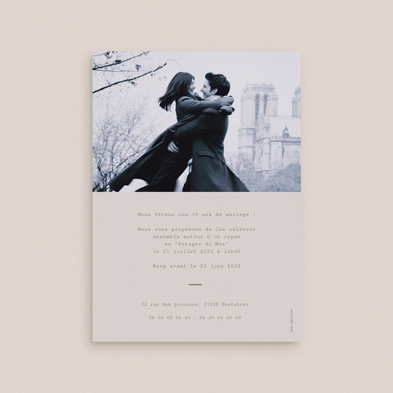 Carte anniversaire de mariage Noces de Bois, de cretonne, de Perle pas cher