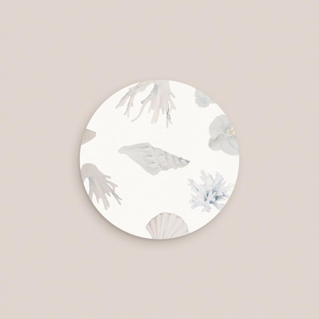 Etiquette enveloppes mariage Coquillages & coraux Aquarelle, 4,5 cm pas cher
