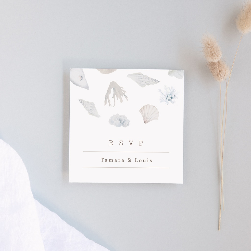 Carton réponse mariage Coquillages & coraux Aquarelle, Rsvp
