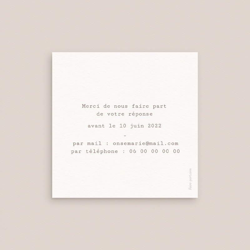 Carton réponse mariage Coquillages & coraux Aquarelle, Rsvp pas cher