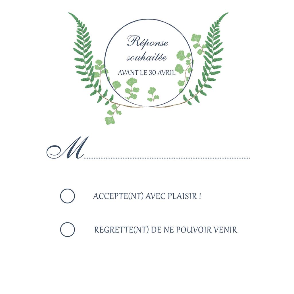 Carton réponse mariage Nature Chic pas cher