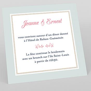 Carte d'invitation mariage Gris et Rose Poudré