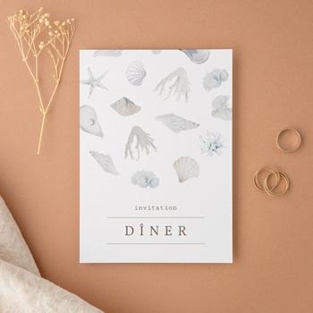 Carte d'invitation mariage Coquillages & coraux Aquarelle, Dîner