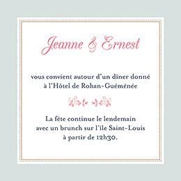 Carte d'invitation mariage Gris et Rose Poudré pas cher