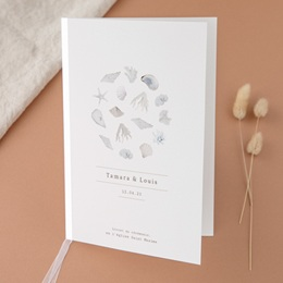 Livret de messe mariage Coquillages & coraux Aquarelle, Couverture