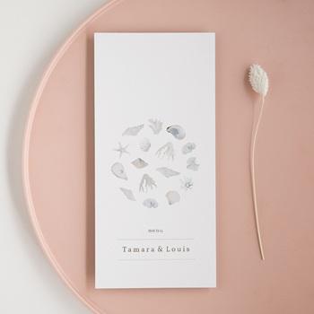 Menu mariage Coquillages & coraux Aquarelle, repas, 10 x 21 cm