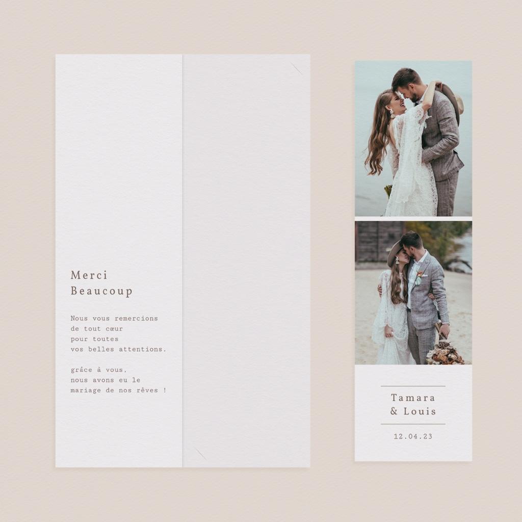 Carte de remerciement mariage Coquillages & coraux Aquarelle, 2 en 1 pas cher