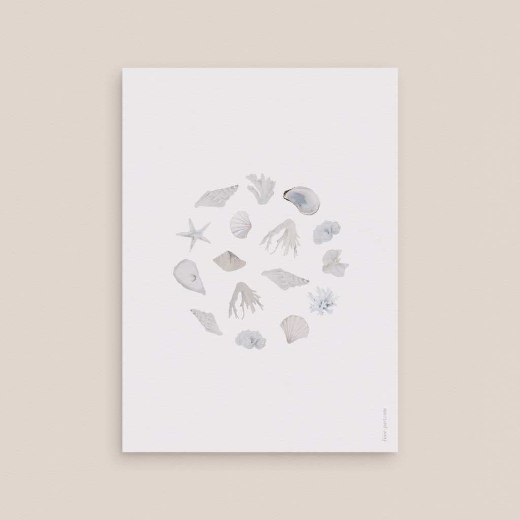 Save-the-date mariage Coquillages & coraux Aquarelle, Jour J pas cher